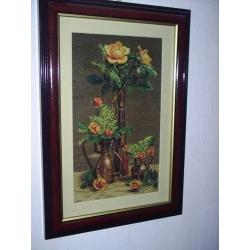 goblen bakır vazolarda güller, işlenmiş goblen tablo