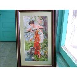 goblen baharı müjdeleyen kız, işlenmiş goblen tablo