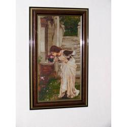 goblen çiçek koklayan kız, işlenmiş goblen tablo